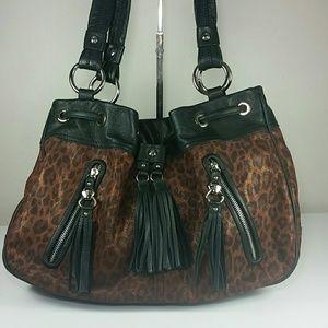 B Makowski Leather leopard brown suede black